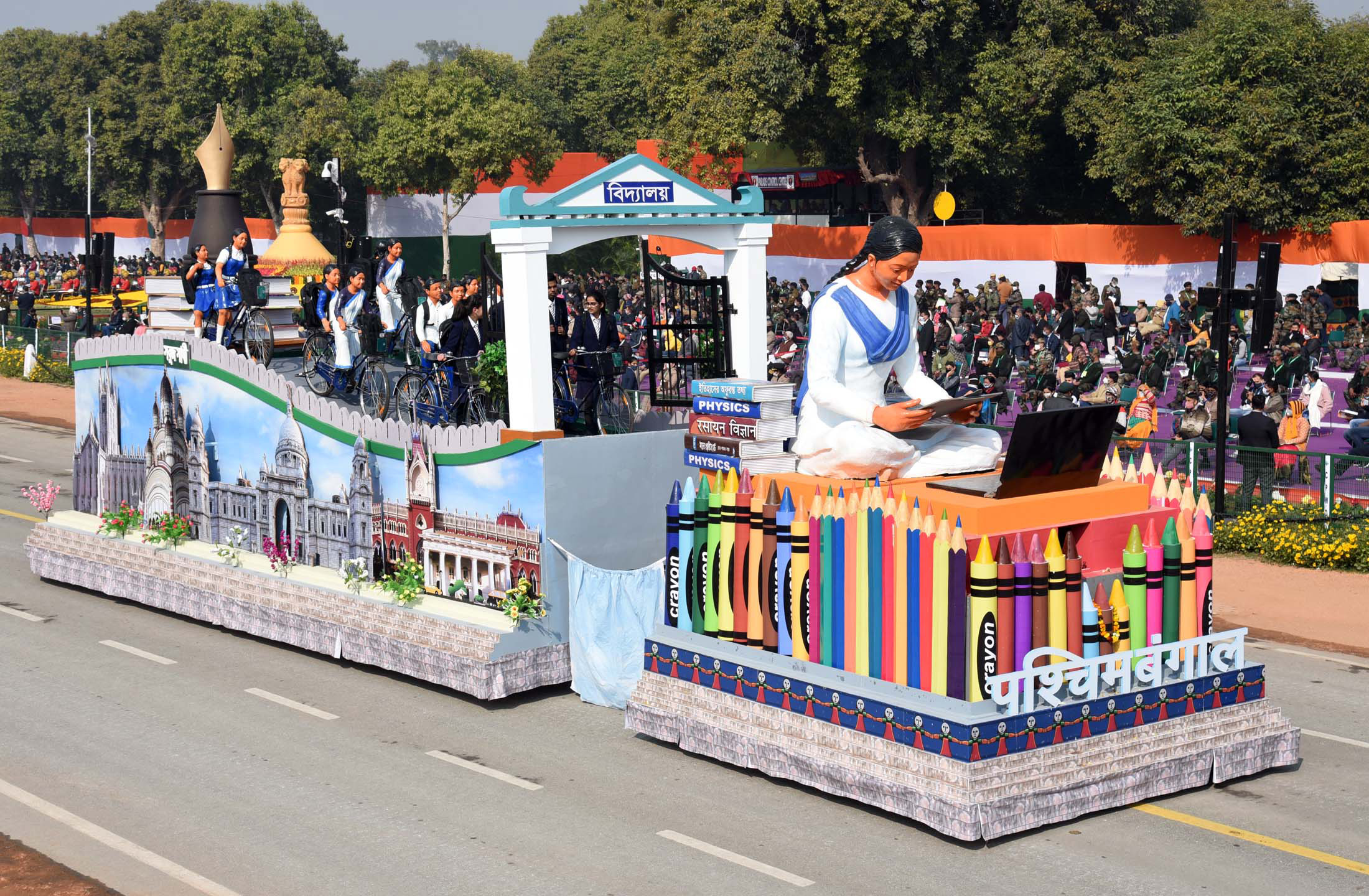 The Tableau of West Bengal passes through the Rajpath at the 72nd Republic Day Celebrations, in New Delhi on January 26, 2021.