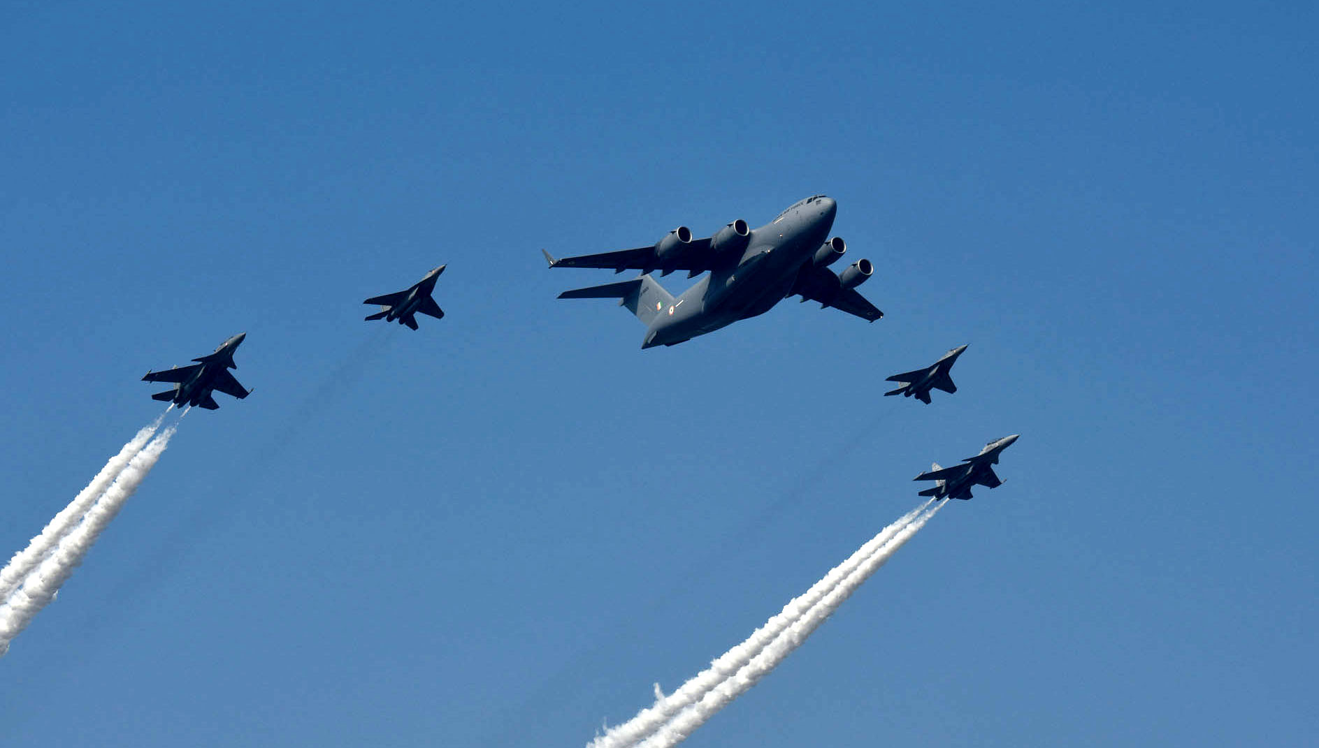 C-17 Globemaster plane fly over Rajpath, at the 72nd Republic Day Celebrations, in New Delhi on January 26, 2021.