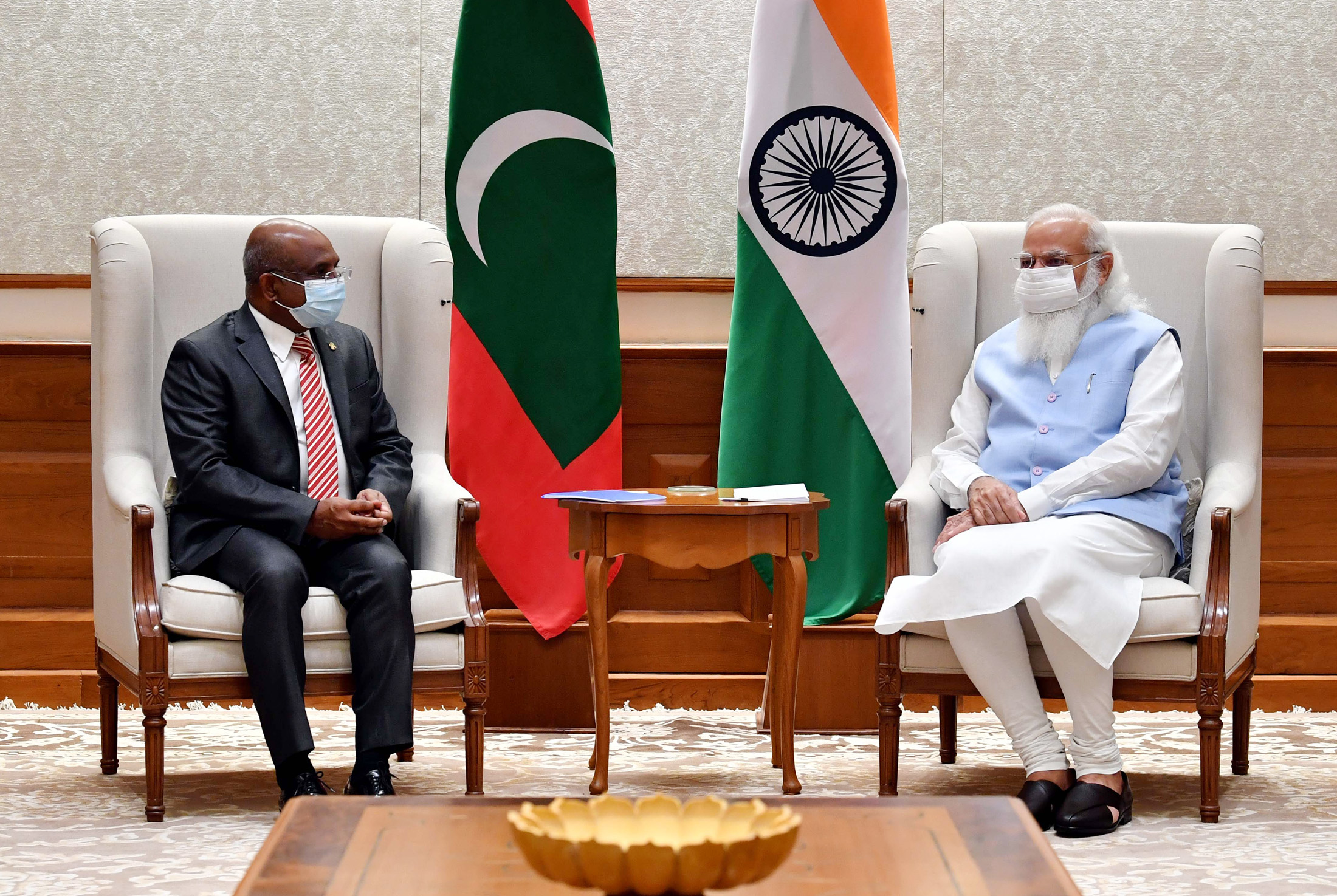 The President-elect of the 76th session of the United Nations General Assembly (UNGA) and Foreign Minister of the Maldives, Mr. Abdulla Shahid calling on the Prime Minister, Shri Narendra Modi, in New Delhi on July 23, 2021.