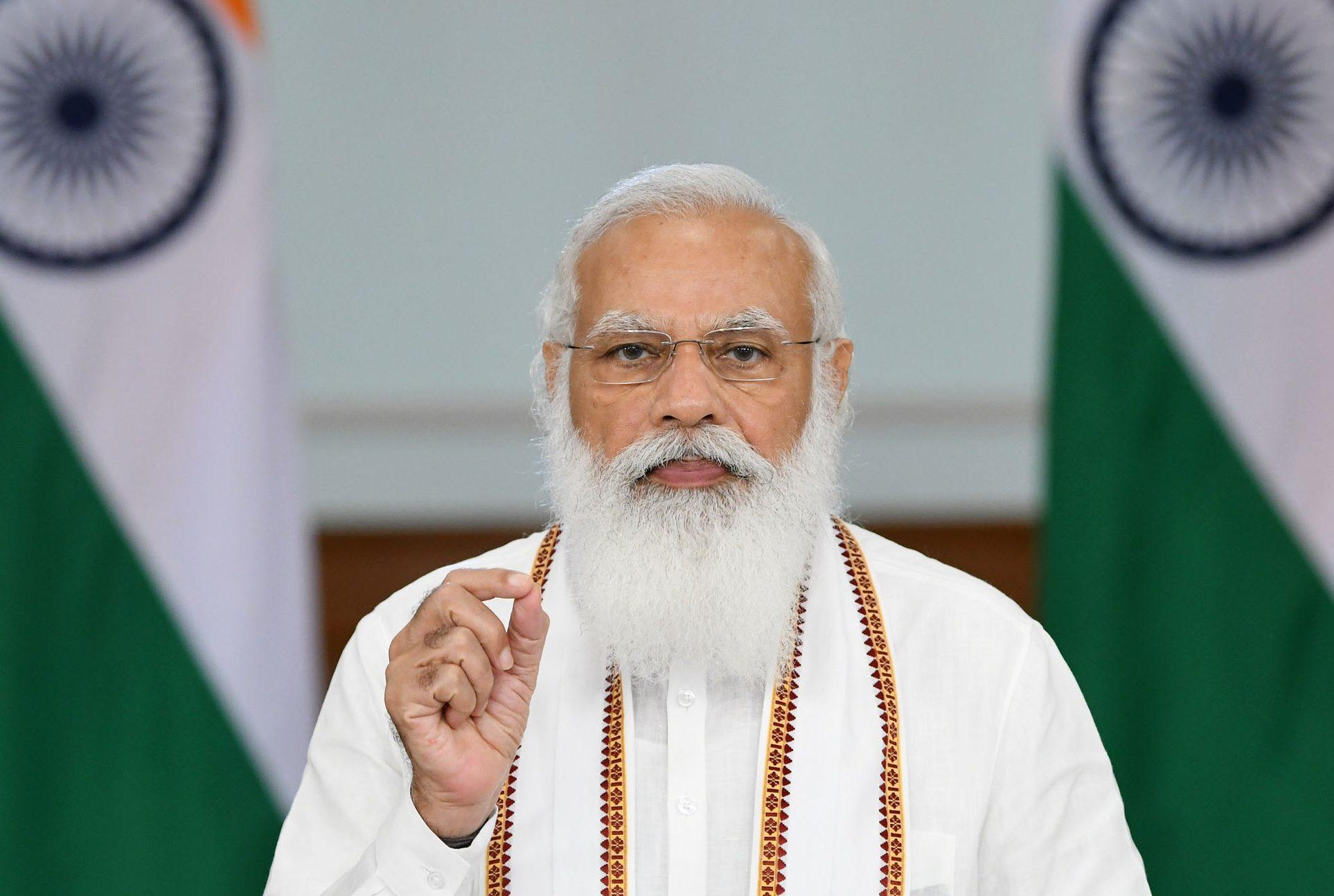 The Prime Minister, Shri Narendra Modi addressing at Ashadha Purnima-Dhamma Chakra Day programme, through video conferencing, in New Delhi on July 24, 2021.