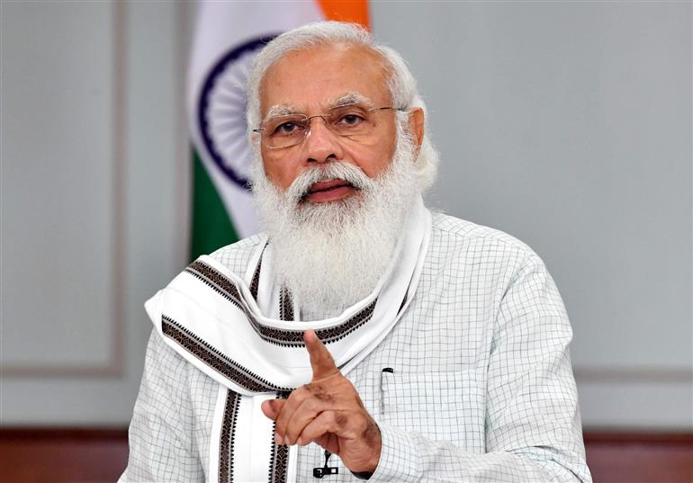 The Prime Minister, Shri Narendra Modi addressing at the World Youth Skill Day celebrations, through video conferencing, in New Delhi on July 15, 2021.