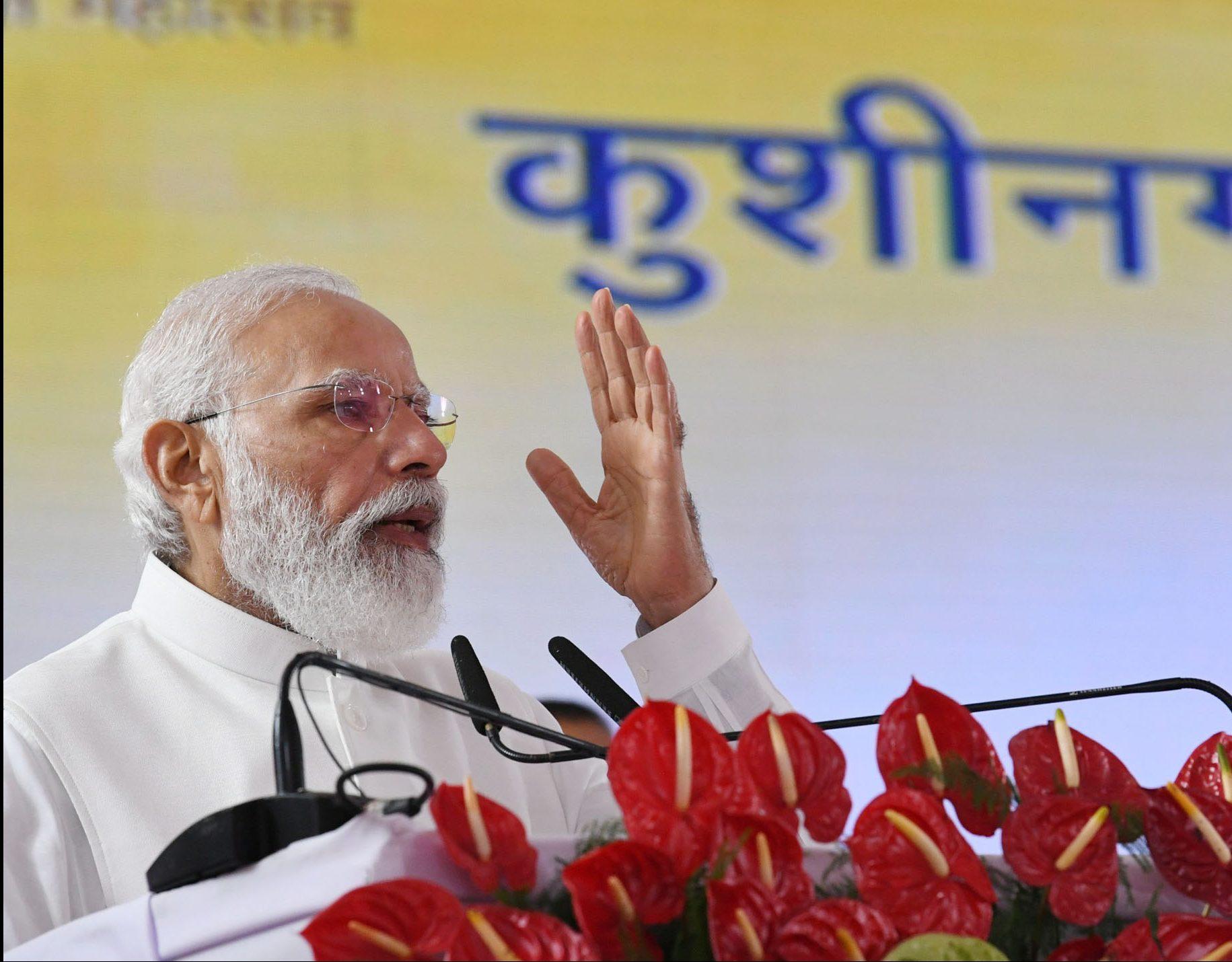 The Prime Minister, Shri Narendra Modi arrives at Kushinagar International Airport, Uttar Pradesh on October 20, 2021.  The Governor of Uttar Pradesh, Smt. Anandiben Patel and other dignitaries are also seen.